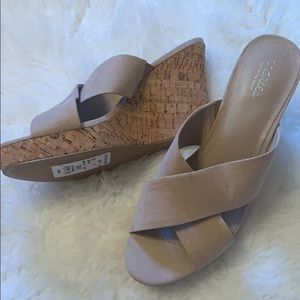 NWT Charles Nordstrom rack nude wedges- size 11